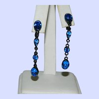 Royal Cobalt Blue Japanned Metal Dangler Earrings