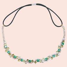 Gorgeous Peridot and Green Rhinestone Bridal Headband  Tiara Stunning