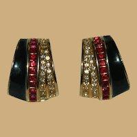 Designer Quality Red Baguette and Rhinestone Half Hoop Earrings
