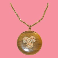 Perfect Earth Day Accessory Wood and Carved Bone Pendant on Fancy Chain Necklace