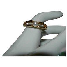 18k H.G.E. Yellow Gold Mid Century Modern Avon Pearl Ring sz 7 Pristine