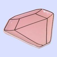 Darling Ceramic Diamond Ring Tray Dish, Soft Pink Gold Paint over Enamel