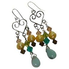 One of a Kind Fresh Water Pearl Ethiopian Opal Swarovski Crystal Dangler Earrings