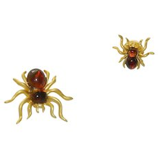Two Spider Scatter Pins Faux Tortoise Shell Bodies Awesome!!
