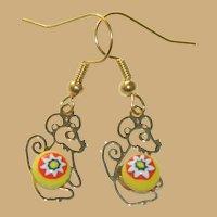 Italian Art Glass Little Mouse Earrings Pierced