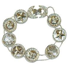 Silver Tone Stars & Moons Slider Bracelet New Old Stock