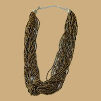 Beautiful Massive Knotted Copper Seed Bead Torsade Necklace