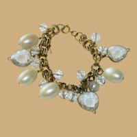 Vintage Charm Bracelet Faux Pearl Drops and Heart Crystals