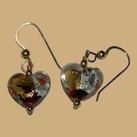 Dramatic Venetian Art Glass Heart Drop Earrings Pierced