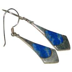 Sterling Silver Lapis Lazuli Inlay Dangler Earrings For Pierced Ears
