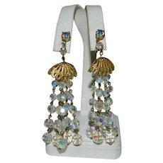Over The Top AB Crystal Multi Strand Dangler Earrings