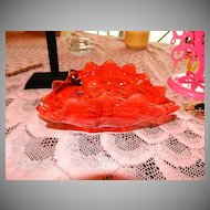 "Classy 8"" Red French Crystal Jewelry Bowl ~ Dish"