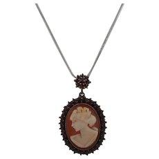 Victorian Gilt Bohemian Red Garnet Encrusted Left Facing Shell Cameo Pendant