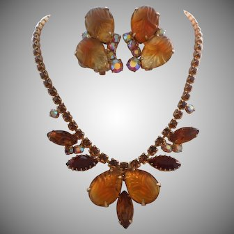 Vintage Honey Brown Molded Glass Rhinestone Necklace Clip Earrings Set