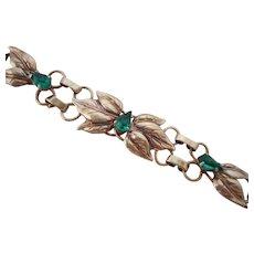 Vintage 12Kt GF Emerald Green Rhinestone Link Bracelet