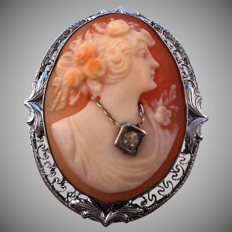 Antique Edwardian 925 Sterling Silver en habille Shell Cameo Pin Brooch