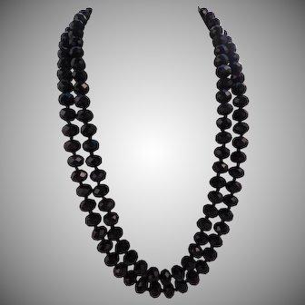"Vintage 52"" Knotted Large Black Crystal Rondelle Bead Endless Sautoir Necklace"