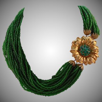 Vintage 30-Strand Kelly Green Glass Seed Bead Torsade Rhinestone Flower Clasp
