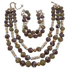 50% OFF Vintage SIGNED Kramer Glass Bead Faux Pearl 3-Strand Necklace Bracelet Demi Parure