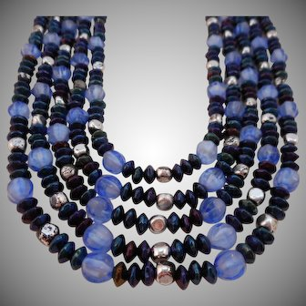 Vintage ALL GLASS Signed W. Germany 5-Strand Carnival Glass Collar Necklace