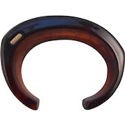 Vintage SIGNED Monet Asymmetrical  Root Beer Lucite Cuff Bracelet