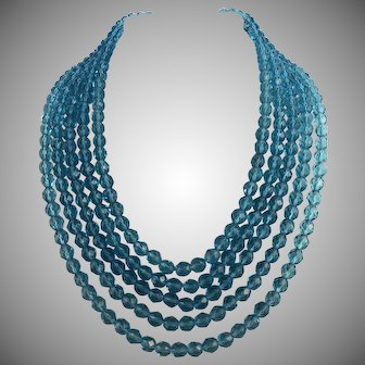 Vintage 5-Strand Turquoise Faceted Crystal Bib Necklace