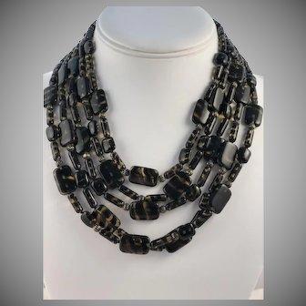 Vintage Faux Tortoise Art Glass 5 Strand Necklace