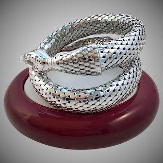 Vintage Whiting Davis Silvertone Oro-Mesh Coiled Snake Bracelet