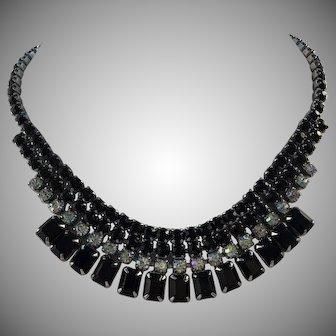 Vintage SIGNED Weiss Black Glass Aurora Borealis Austrian Crystal Rhinestone Necklace