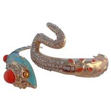 Vintage Egyptian Revival Enamel Crystal Rhinestone Snake Clamper Cuff Bracelet