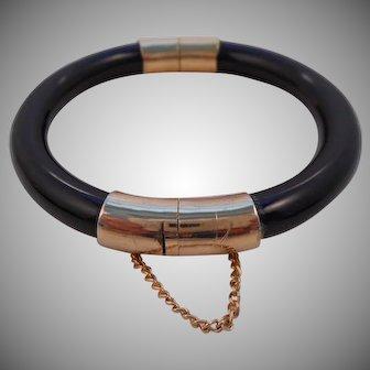 Vintage Black Onyx Bangle Bracelet