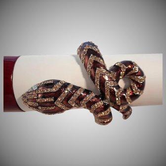 Vintage Designer Maroon Enamel Austrian Crystal Rhinestone Snake Clamper Bracelet