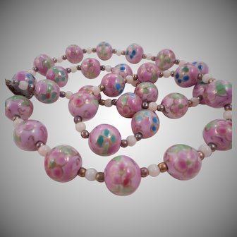 Vintage Pastel Pink Chinese Porcelain Bead Necklace