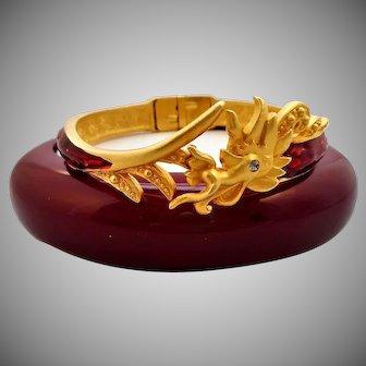 Vintage Signed BOB MACKIE Red Enamel Rhinestone Dragon Cuff Bangle Bracelet