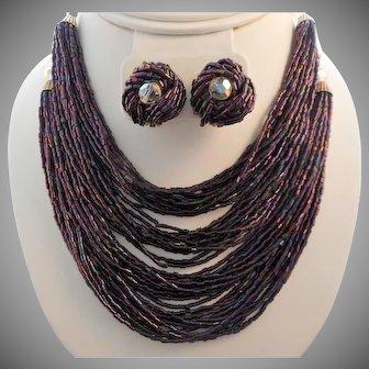 Vintage 48 Strand Purple Blue Glass Bead Torsade Necklace Earring Set