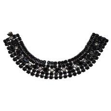 Vintage SIGNED Weiss Black Glass Austrian Crystal Rhodium Plated Bracelet