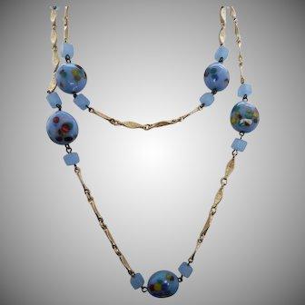 "Vintage 40"" Speckled Blue Glass Bead Necklace"