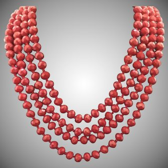 """Vintage 80"""" Red Faceted Glass Bead Knotted Sautoir Necklace"""