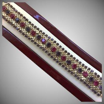 Vintage SIGNED Weiss Austrian Crystal Rhinestone Pink Purple Bracelet