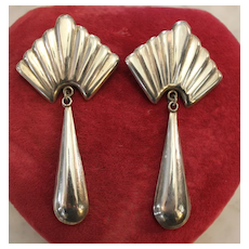 Vintage Large Handmade Sterling Earrings 3 3/4 inches Stunning