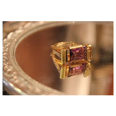 Victorian Amethyst Ring 14kt  So Unique Elaborate Detail