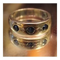 Sapphire Diamond White Gold 18kt Ring  Band  unisex