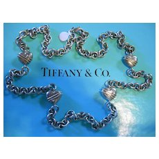 """SALE TIFFANY & CO. Sterling 35""""  Heart & Chain Necklace"""