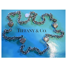 "SALE TIFFANY & CO. Sterling 35""  Heart & Chain Necklace"