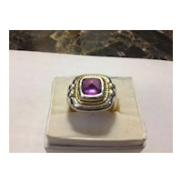 Tiffany & Co.  Amethyst  Sterling & 18kt Chunky Deco Ring FABULOUS