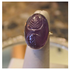Huge Carved Amethyst & Sterling Ring Vintage Filigree