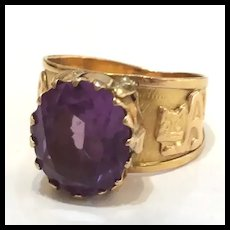 Amethyst 18Kt Band Ring with carved Animals 8 Crts