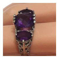 Amethyst 14kt W/Y Gold Filigree Ring Custom Design
