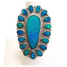 Huge Statement Ring Australian Opal & Sterling