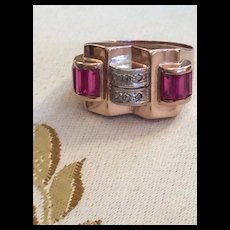 Ruby & Diamond Ring 18kt Rose Gold Deco